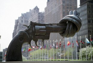 """Non-Violence,"" a sculpture by Karl Fredrik Reutersward, outside the United Nations headquarters in New York City"