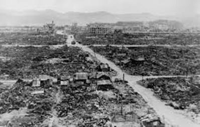The Japanese city of Nagasaki following the atomic bombing by the United States on August 9, 1945