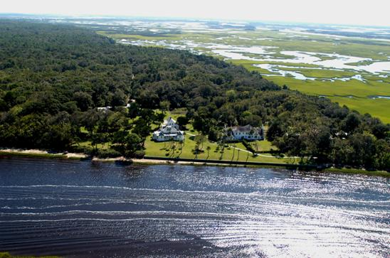 A bird's eye view of the Kingsley Plantation, now a federal museum, located on Ft. George Island between Fernandina and St. Augustine.