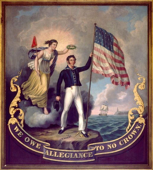 The motif of the Revolutionary War was revived for propaganda purposes in the War of 1812 (1814 painting)