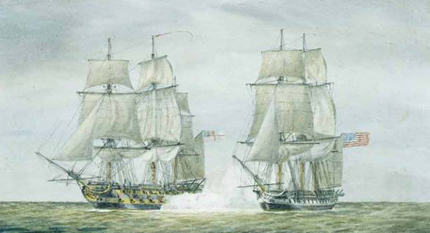 USS Chesapeake vs. HMS Leopard, 1807. Courtesy American Memory, Library of Congress).'