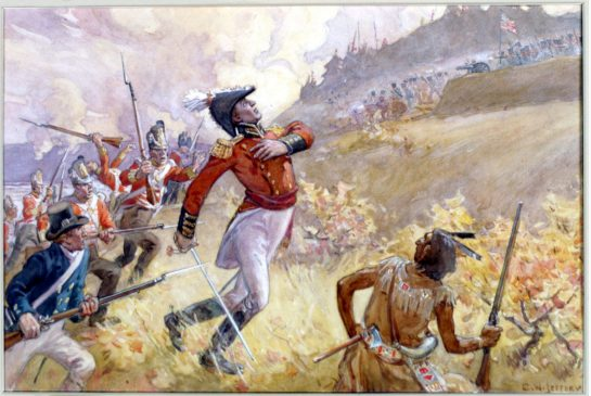 The death of Captain Isaac Brock at Queenston Heights, 13 October 1812