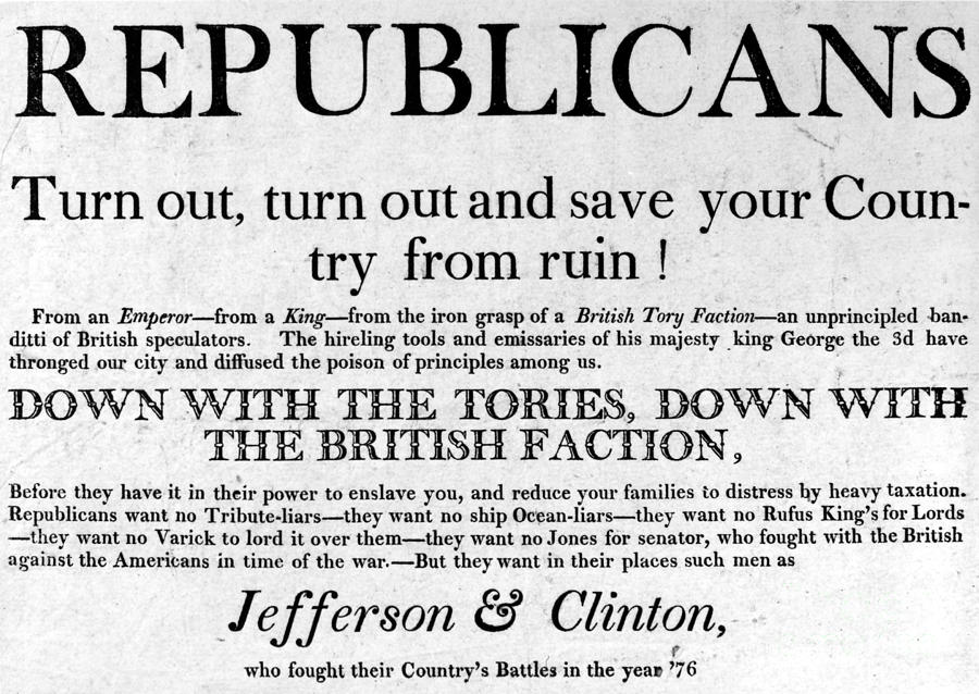Republican campaign poster from the election of 1800, equating the Federalists with Tories and traitors