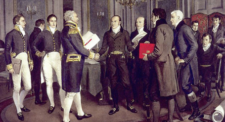 A 1914 painting illustrates the signing of the Treaty of Ghent between Great Britain and the United States, Dec. 24, 1814