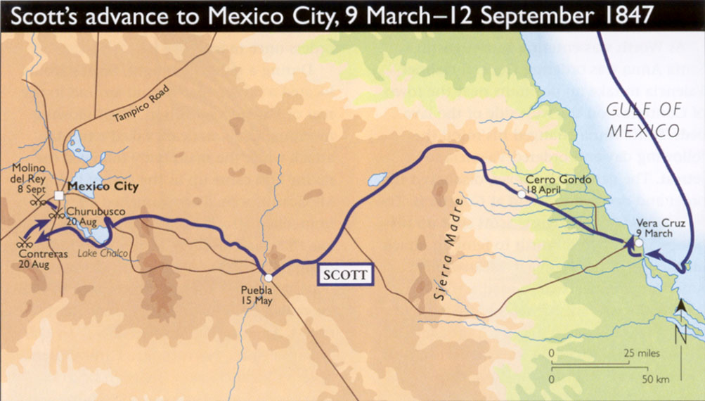 General Scott's army traveled 260-mile inland from Veracruz to Mexico City