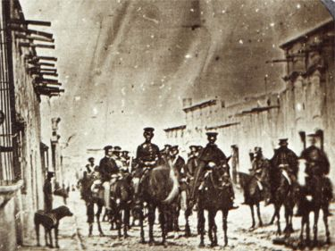 Early photo of U.S. soldiers entering Saltillo