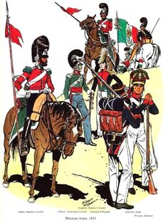 Mexican lancers and infantry