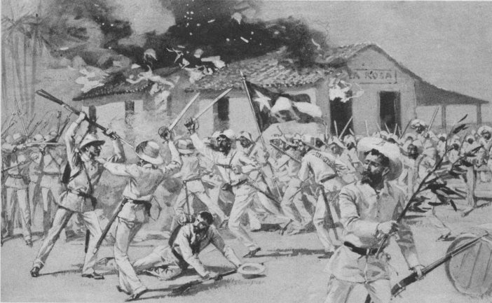 Cuban rebels attack a defended town