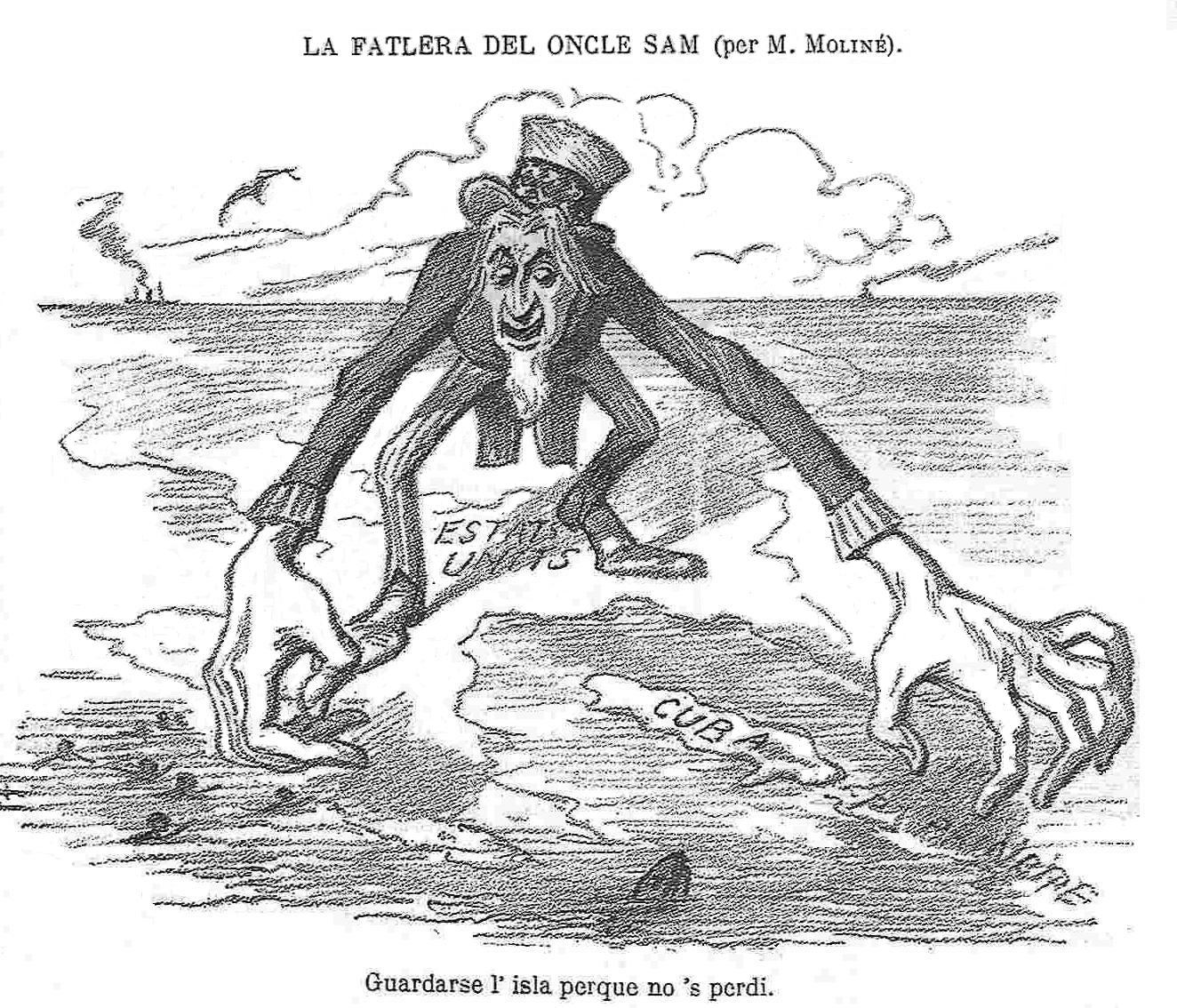 "A Spanish satirical drawing published in 1896 warning of U.S. intentions. The text below translates: ""Keep the island so it won't get lost."""