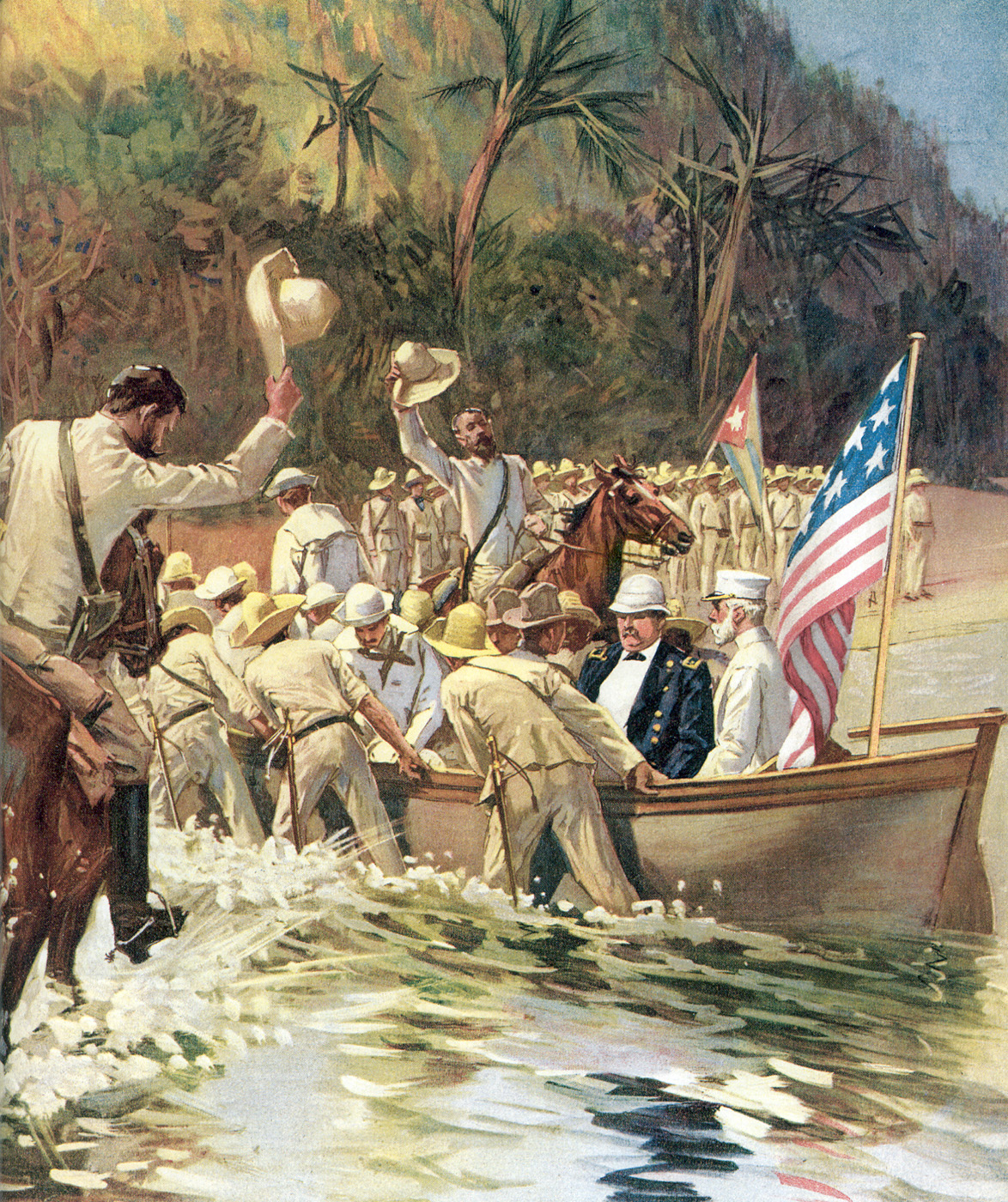 U.S. Generals Shafter and Sampson are escorted to shore by Cuban troops