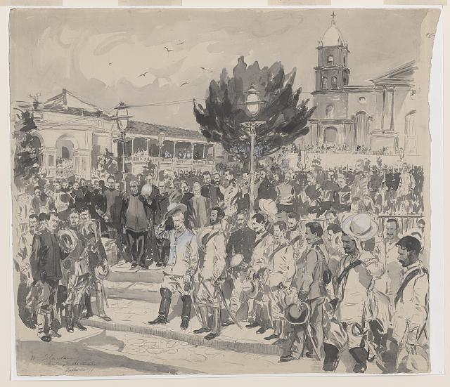 Spanish surrender at the Plaza in Santiago de Cuba (drawing)