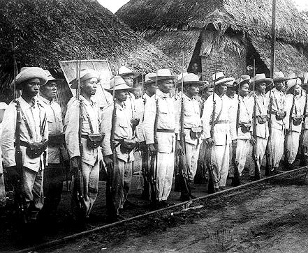 Filipino soldiers of Aguinaldo's Army (uniforms confiscated from the Spanish)