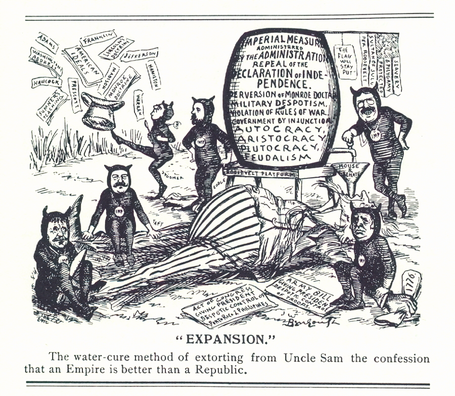 Cartoon: Anti-imperialists used the water cure to make Uncle Sam admit to the practice of imperialism