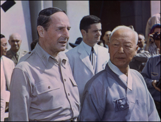 General Douglas MacArthur and Syngman Rhee