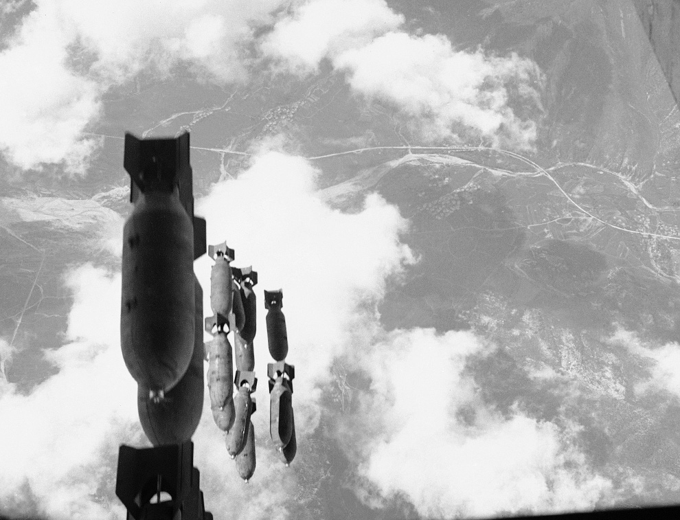 U.S. bombs fell on South Korea as well as on North Korea. Salvo of 500-pound bombs dropped from a U.S. B-29 on communist-controlled territory west of the Naktong River, Aug. 16, 1950 (AP photo)