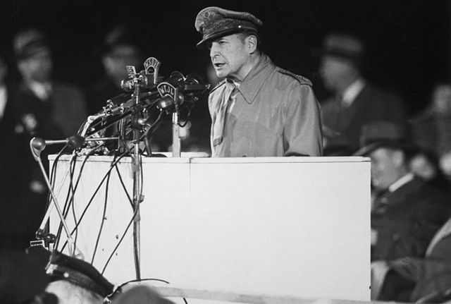 On April 25, 1951, Gen. MacArthur addressed an audience of 50,000 in Chicago