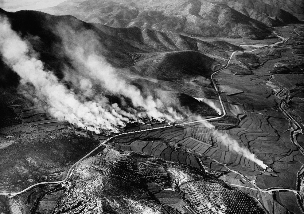 Village of Agok in northern region of North Korea hit with missiles, August 1950