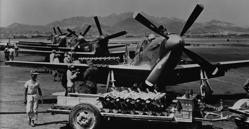 U.S. fighter aircraft loaded with rockets
