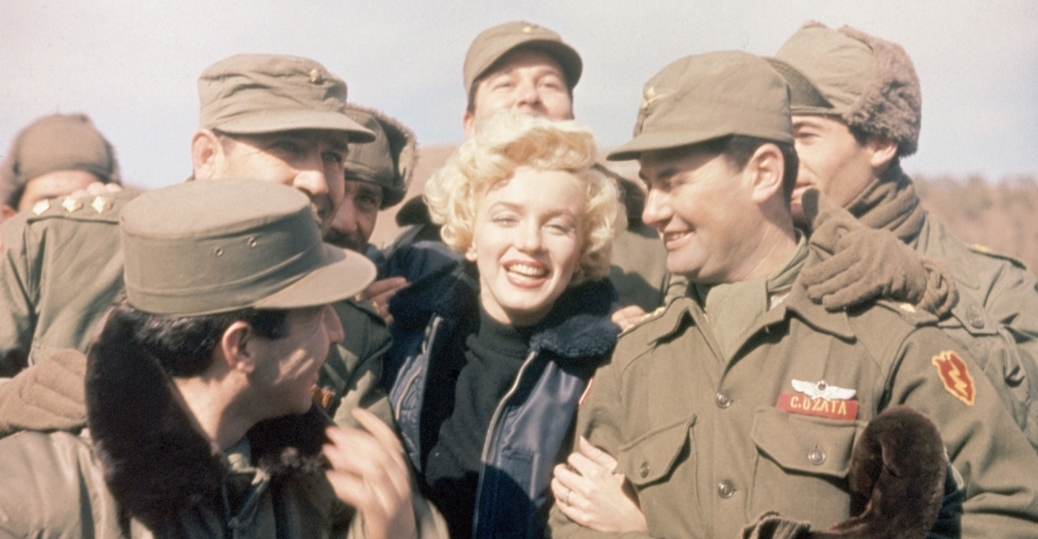 Film star Marilyn Monroe helps boost morale in Korea