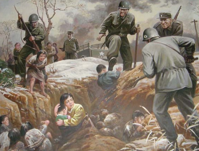 Painting of American brutality from the North Korean War Crimes Museum at Sinchon