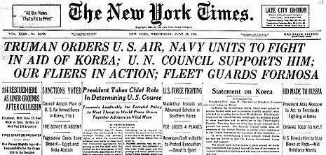Truman dispatches U.S. forces to Korea under United Nations authority (New York Times, June 28, 1950)