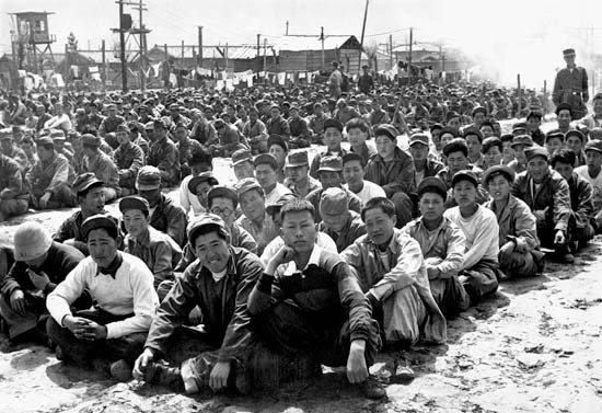 Chinese and North Korean POWs at a UN Command prison