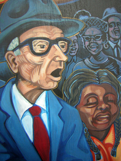Mural commemorating A. J. Must on the War Resisters League building in New York