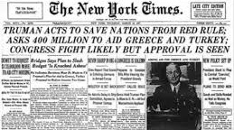 "President Truman established the principle of U.S. intervention against ""communist aggression"" in March 1947 (Truman Doctrine); the U.S. sent aid but not troops to anti-communist factions in Greece and China"