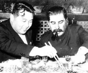 Kim II-Sung and Soviet leader Joseph Stalin